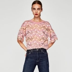 Zara w/b pink yellow lace top